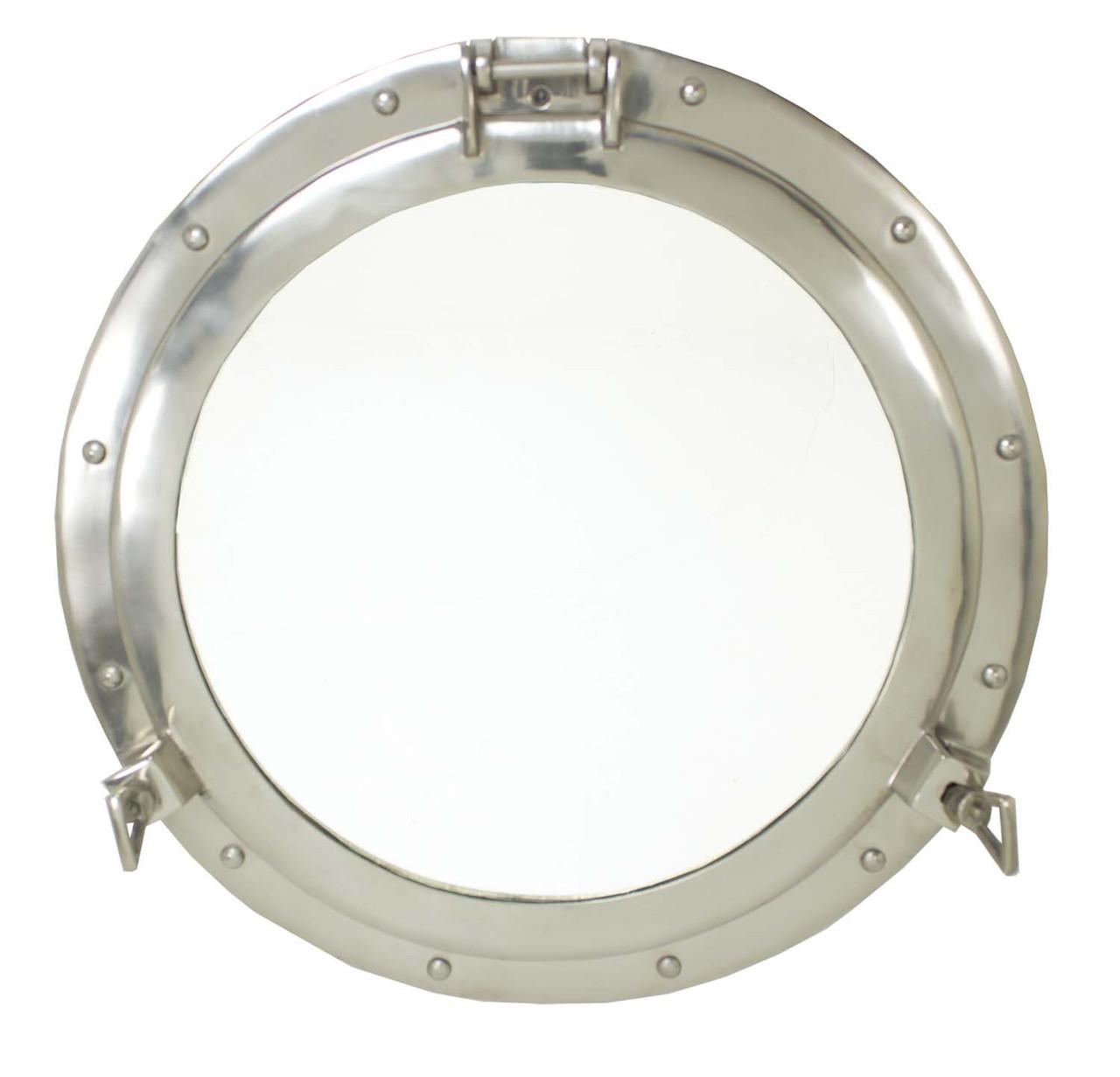 """Porthole Mirror Aluminum - Nickel Finish 20"""""""