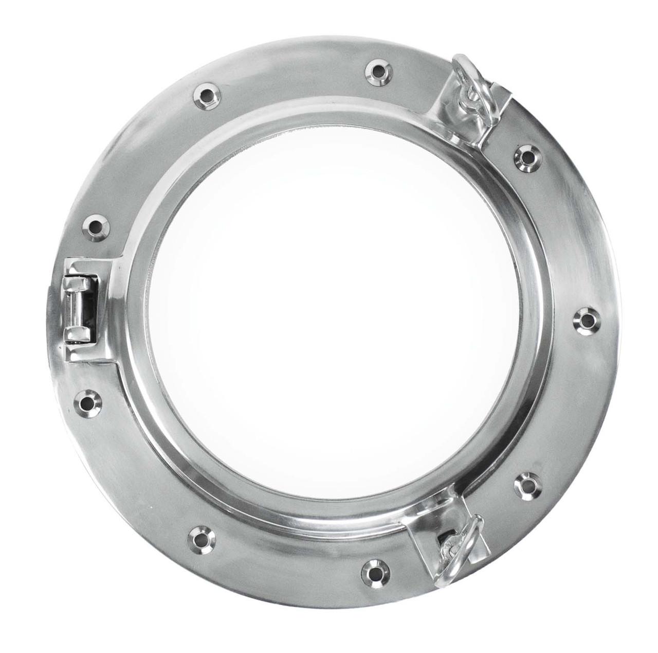 """Porthole Mirror - Polished Aluminum 16"""" - Deep Frame"""