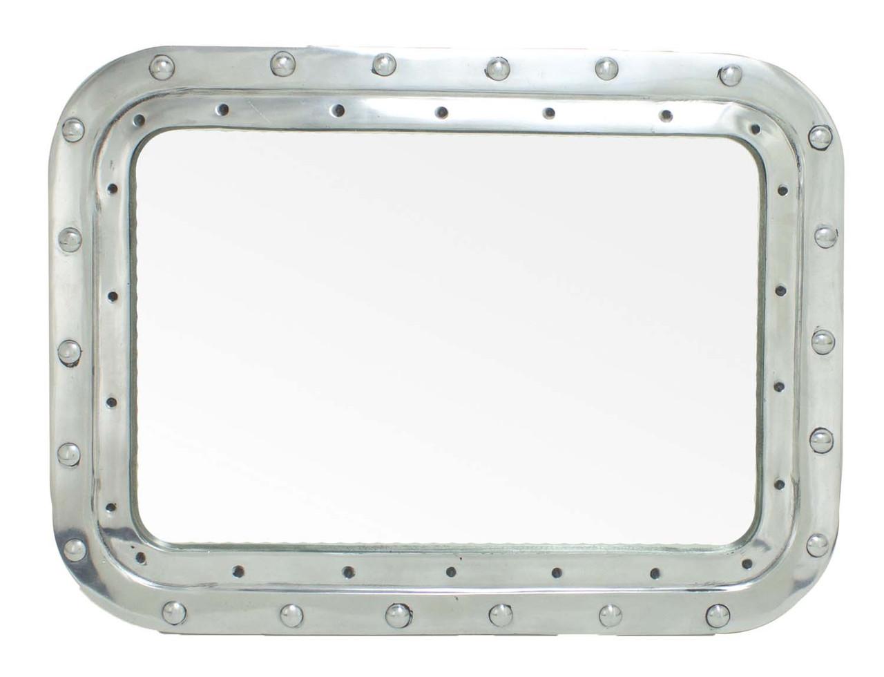 """Porthole Mirror - Polished Aluminum 15"""" - Rectangular"""