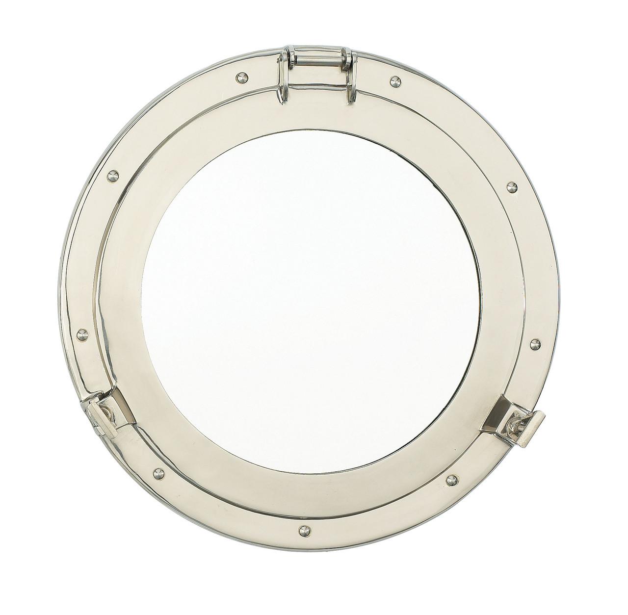 "Porthole Mirror Solid Brass - Nickel Finish  17"""