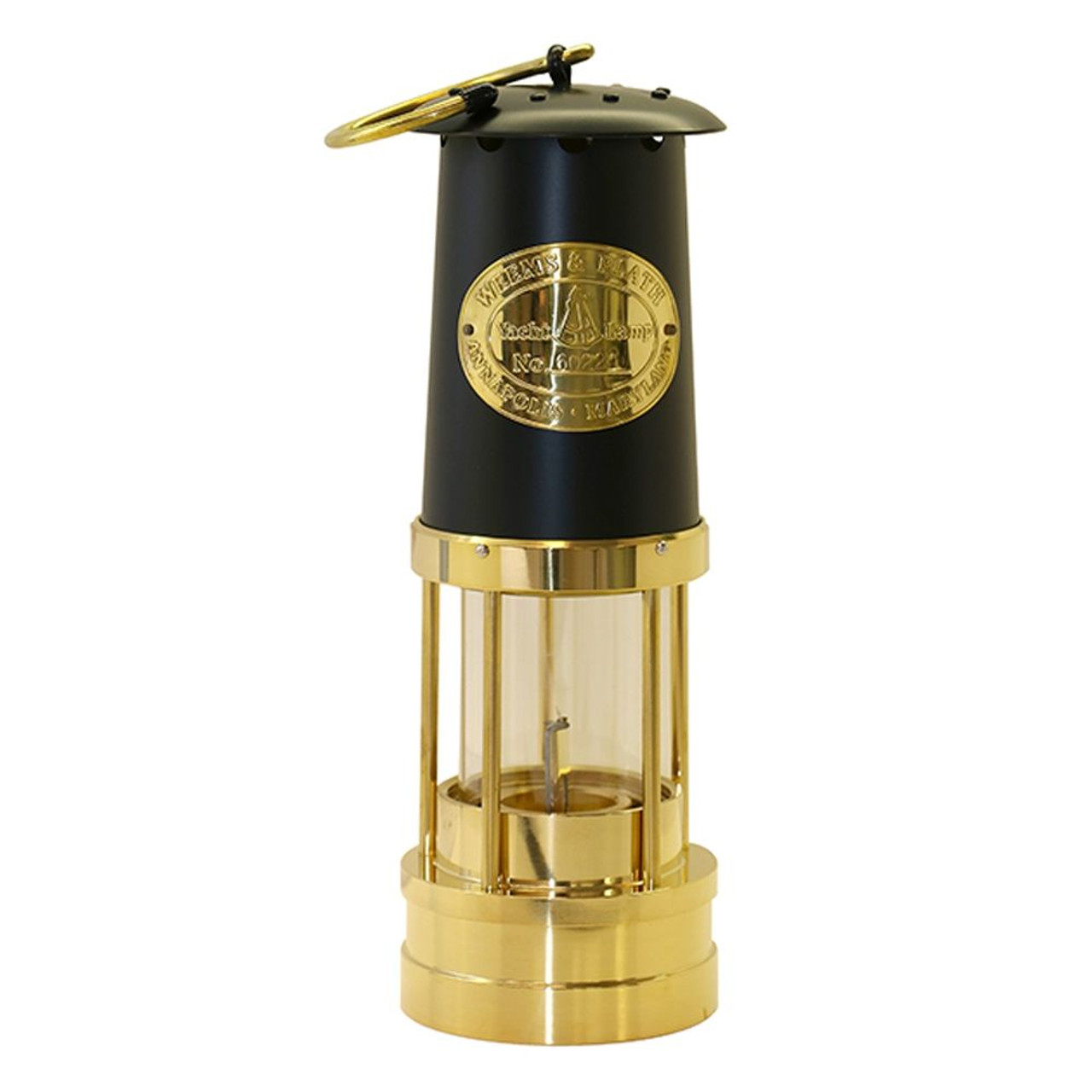 Brass Yacht Lamp with Black Bonnet
