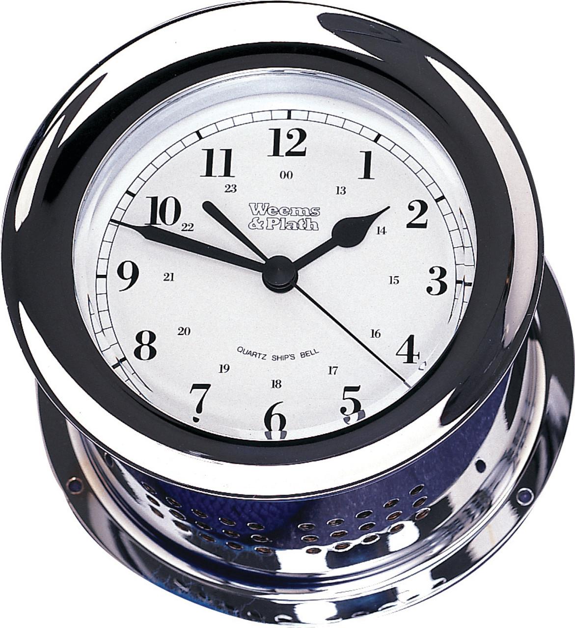 Chrome Plated Atlantis Quartz Ship's Bell Clock (220100)