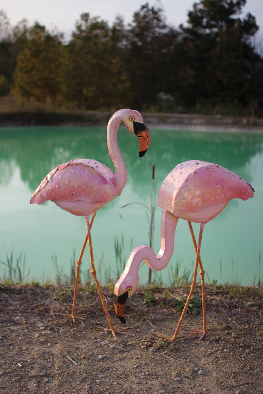 Painted Metal Pink Flamingo - Heads Down