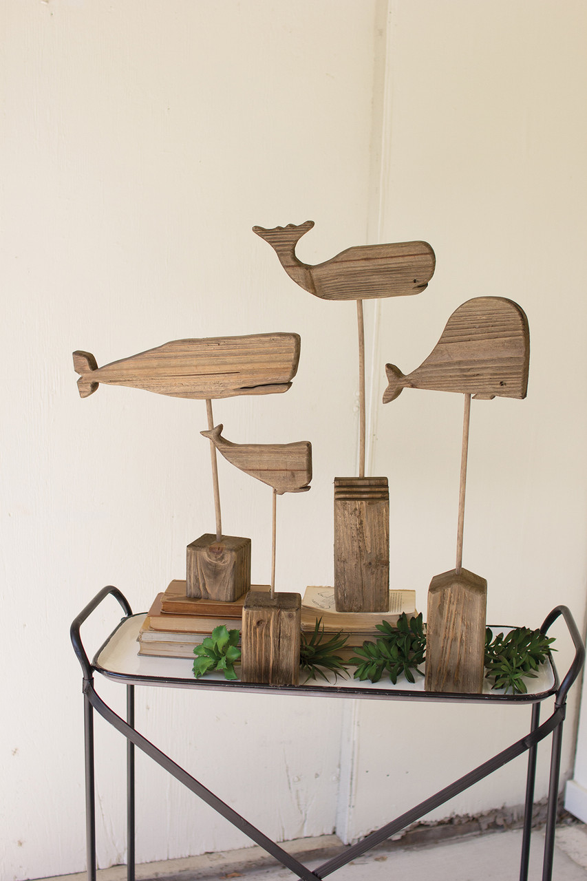 Set of 4 Recycled Wooden Whales on Stands