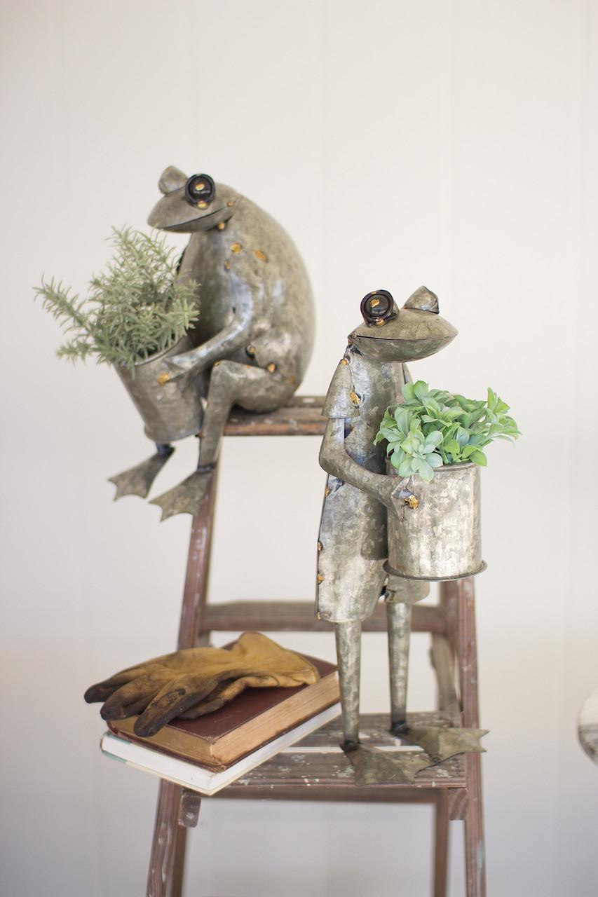 Galvanized Frog Planters - Set of 2