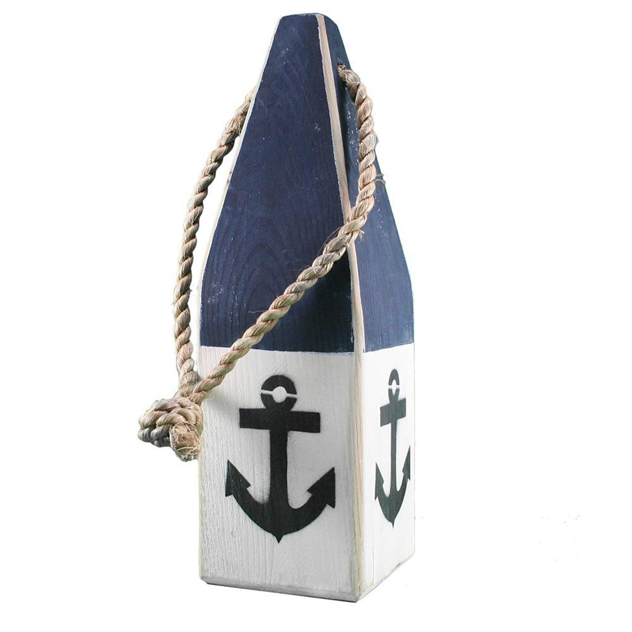 "Nautical Wood Buoy 12"" Navy/White with Anchor"