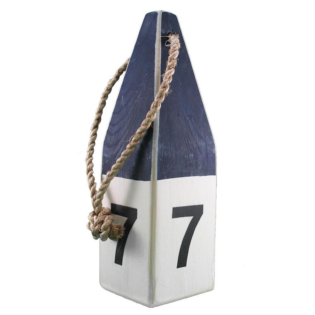 """Nautical Wood Buoy 12""""  Navy/White #7"""