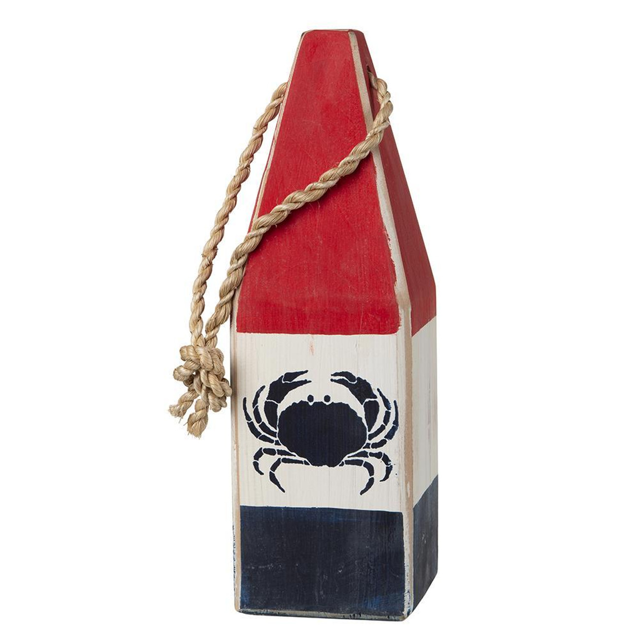 "Nautical Wood Buoy 12""  Red/White/Navy with Crab"