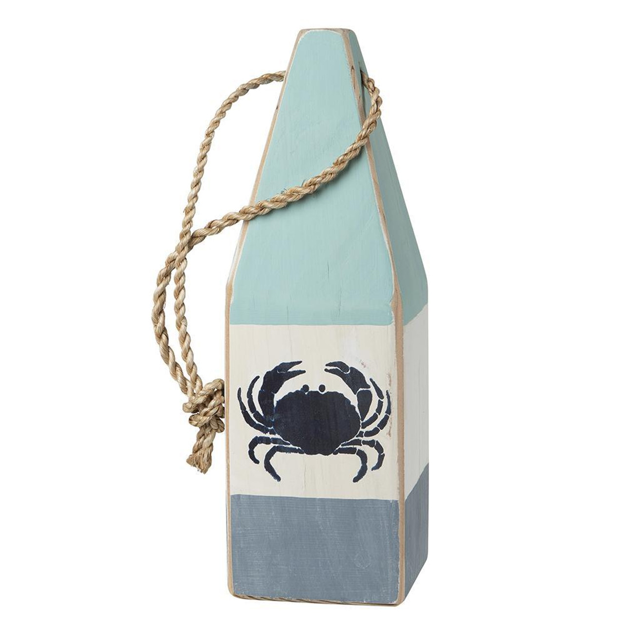 "Nautical Wood Buoy 12""  Aqua/White/Nantucket Blue with Crab"