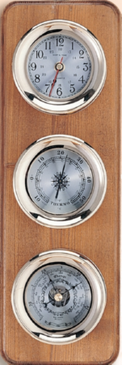 """Clock, Barometer, and Thermometer with Lacquer - 4.5"""""""