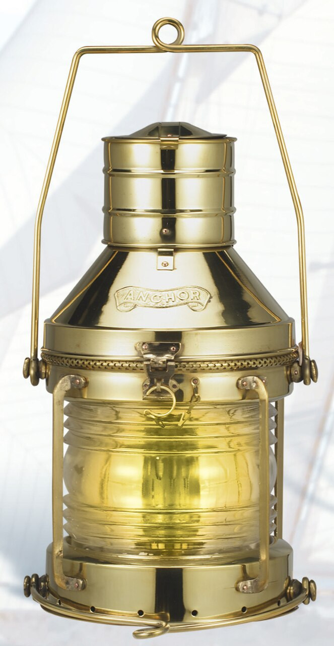 "(BL-817T 14"")  14"" Brass Electric Touch Anchor Lantern"