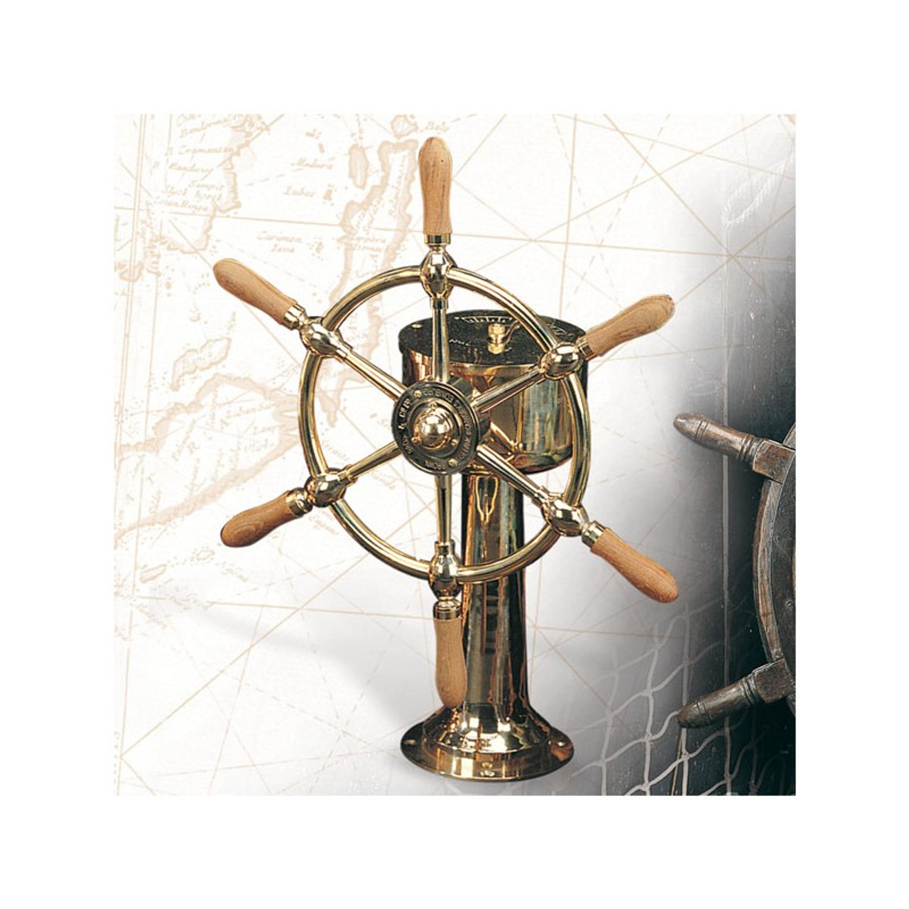 """Brass Ship Wheel with Stand - 30"""""""