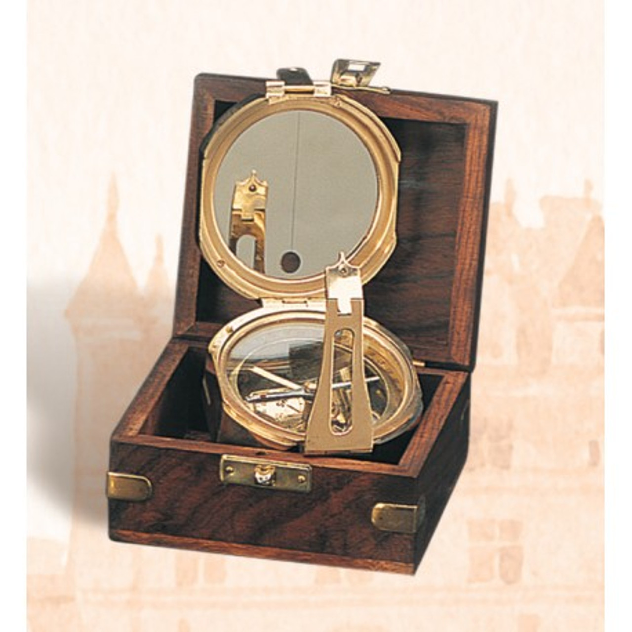 "(BW-663) 4"" Brass Brunton Compass with Wooden Display Box"