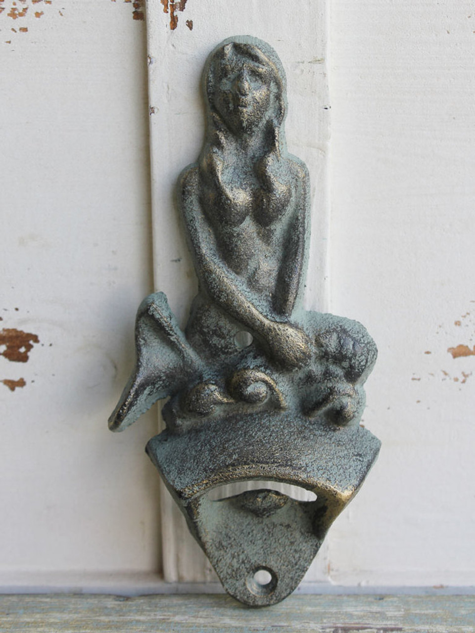 Wall Mounted Cast Iron Bottle Opener - Mermaid - Antique Green - 6.25""