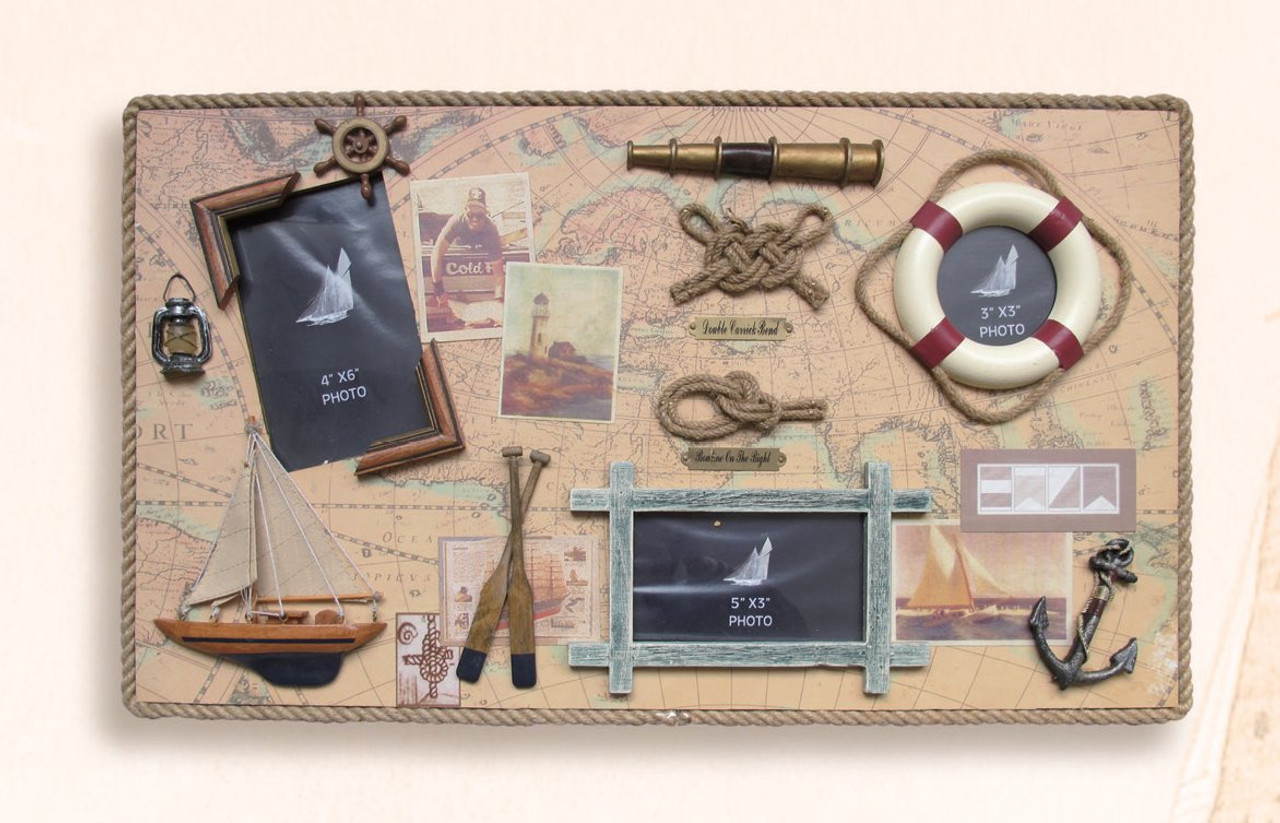 """Nautical Knot Board with Picture Frames - 22"""" x 13"""""""