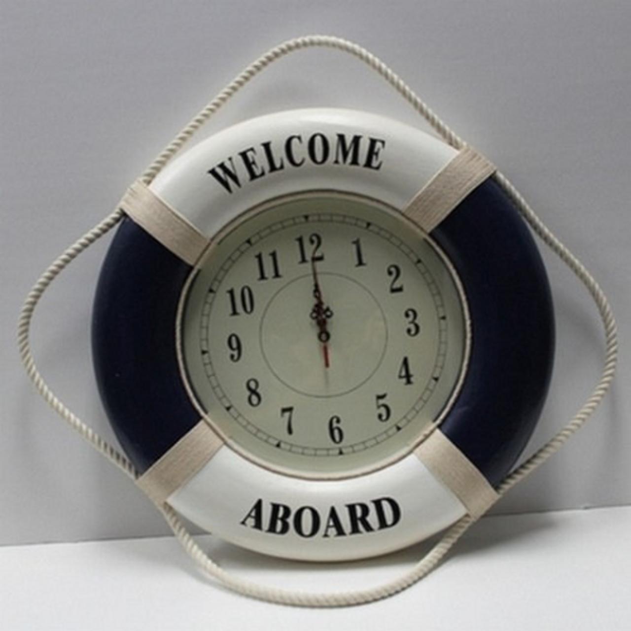 "Life Ring Clock - Blue - 20"" Dia."