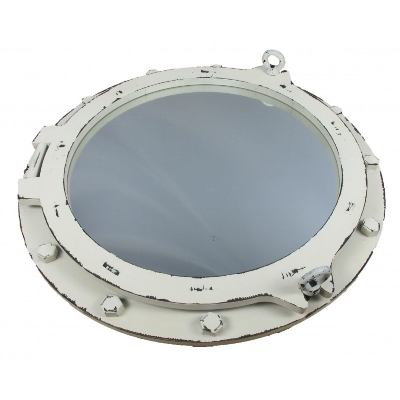 Wooden Porthole Mirror with Antique White Finish - 24""