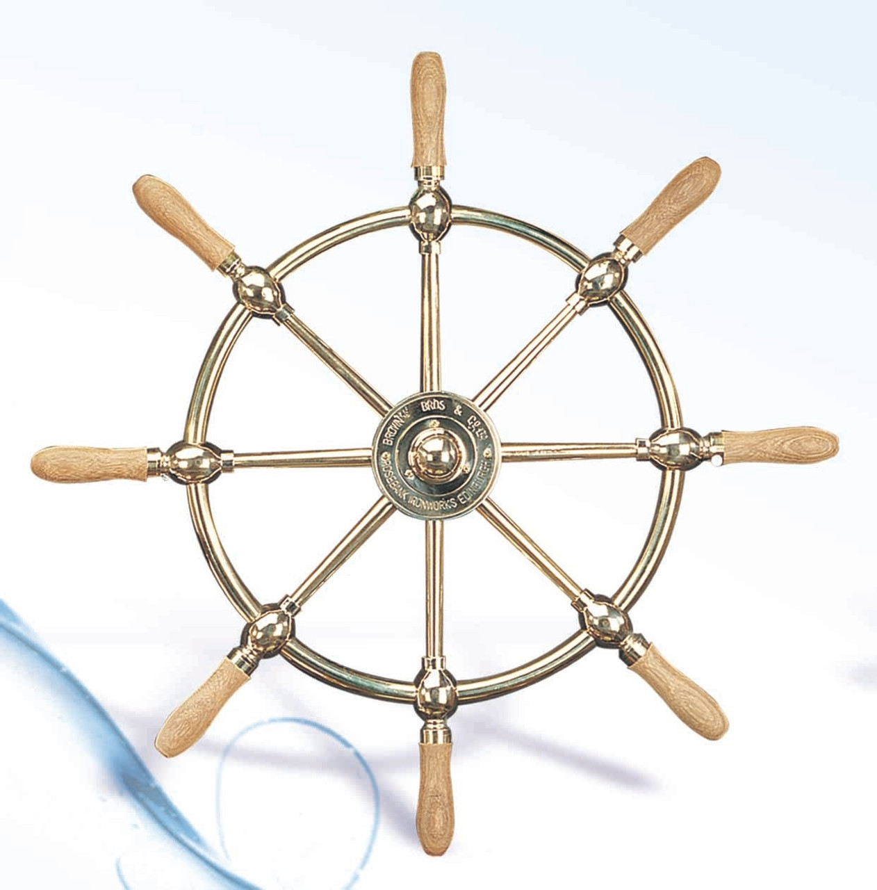 "(SW-104 24"") 24"" Brass Ship Wheel with Wooden Spokes"