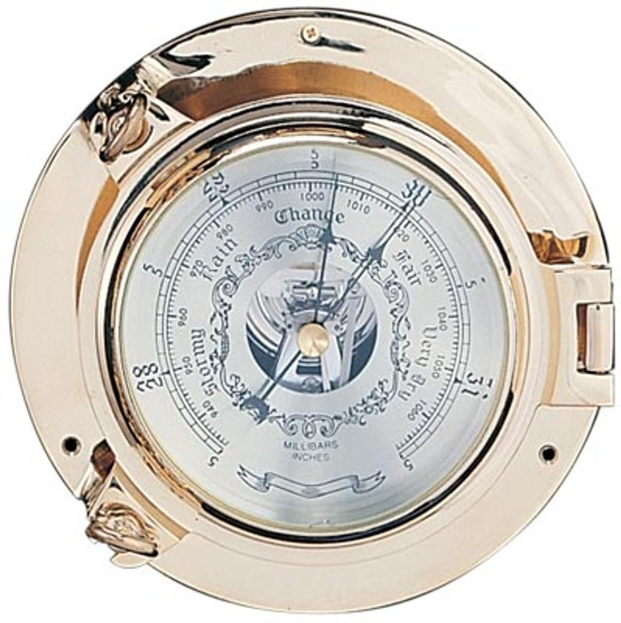 """Porthole Barometer with Lacquer Coating - 9"""""""