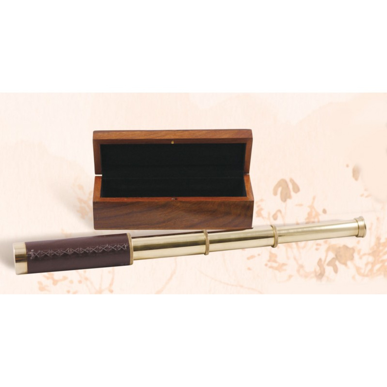 """Leather and Brass Telescope with Wooden Case - 14.5"""""""