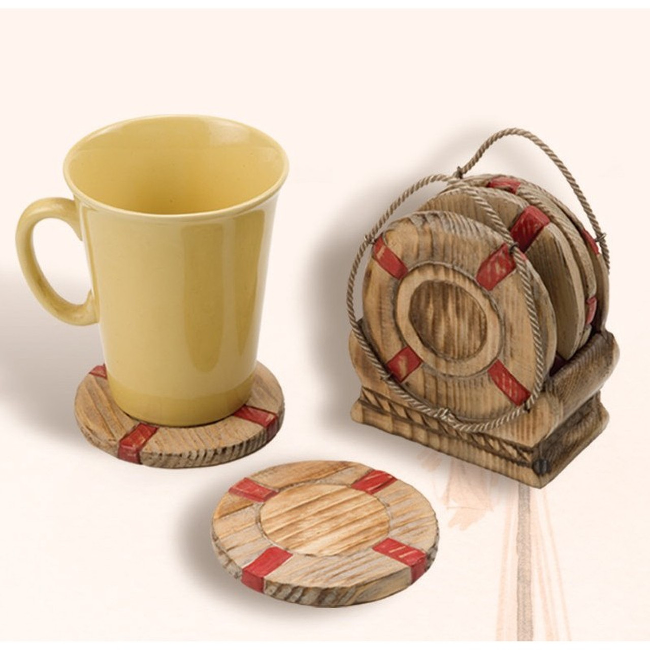 Life Ring Wooden Coasters - Set of 4