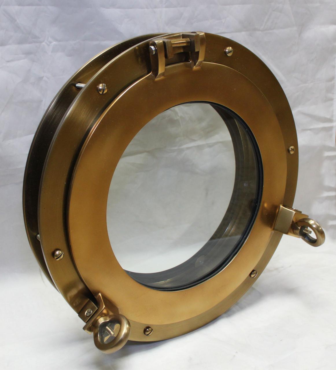 """Aluminum Antique Brass Porthole Window w/Adjustable Flange - 15 3/8"""""""