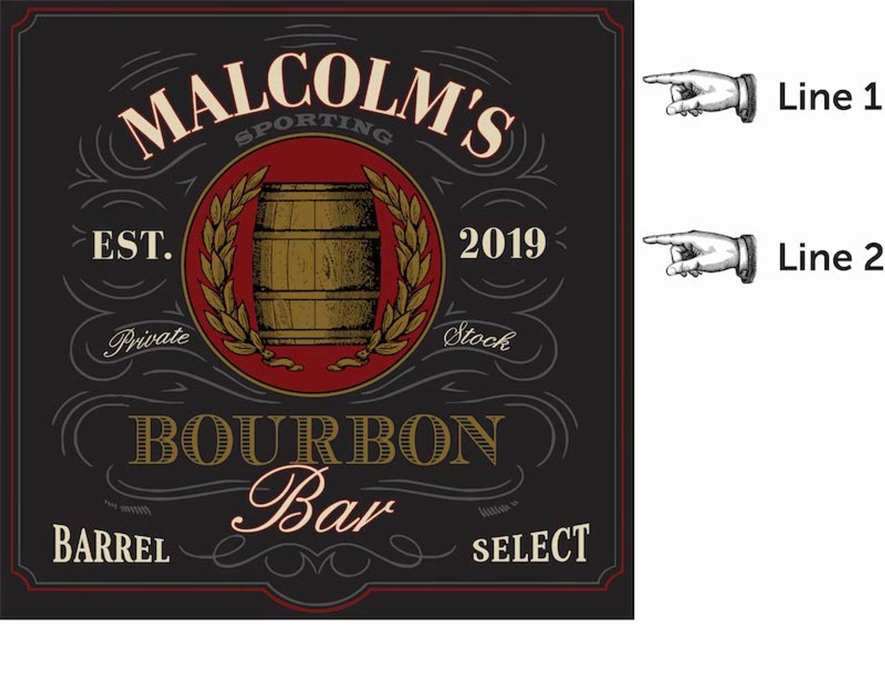 Personalized Dart Board - Bourbon Bar