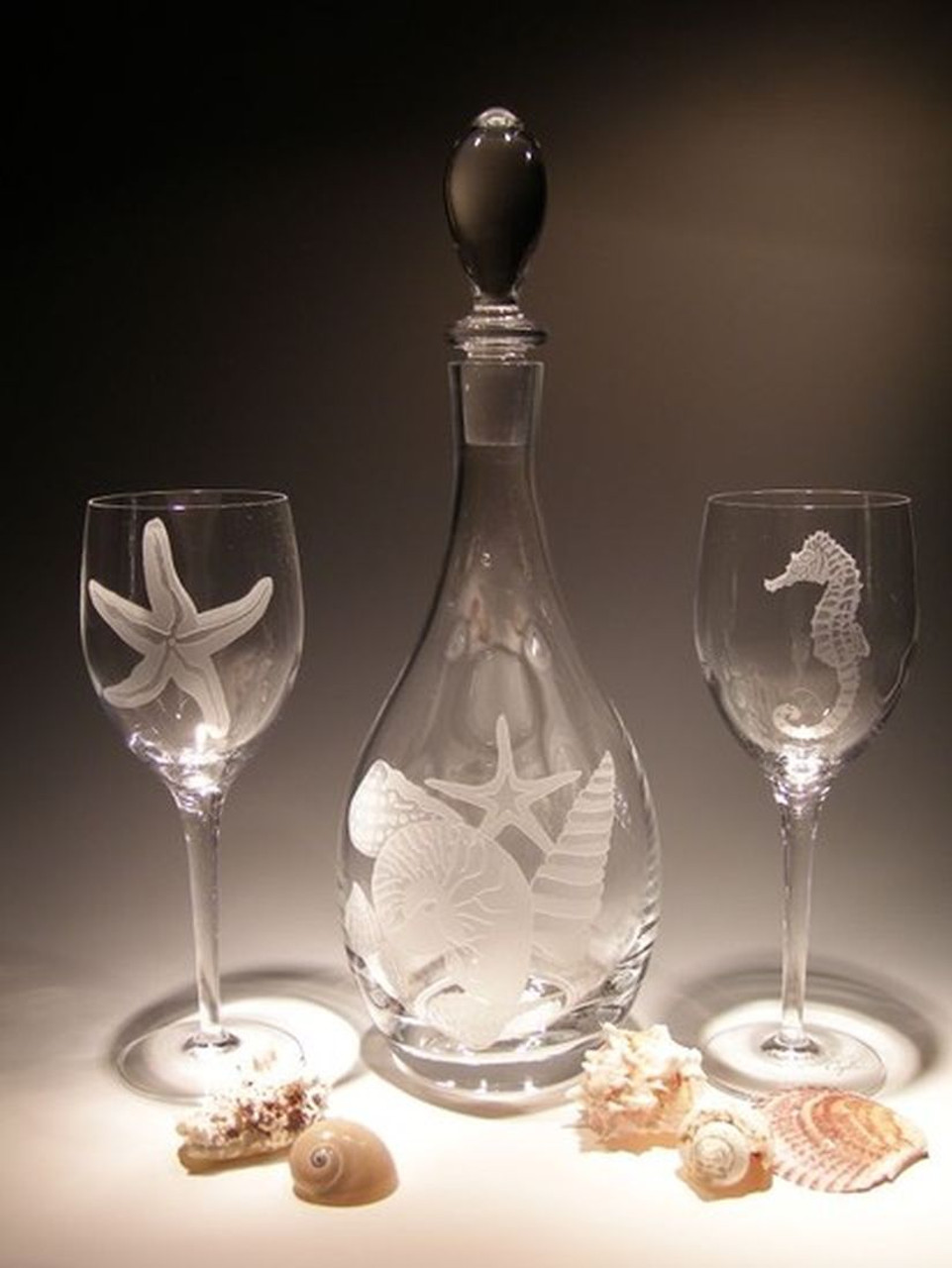 Hand Carved Crystal Wine Glasses - 10 oz - Set of 2 - Personalized