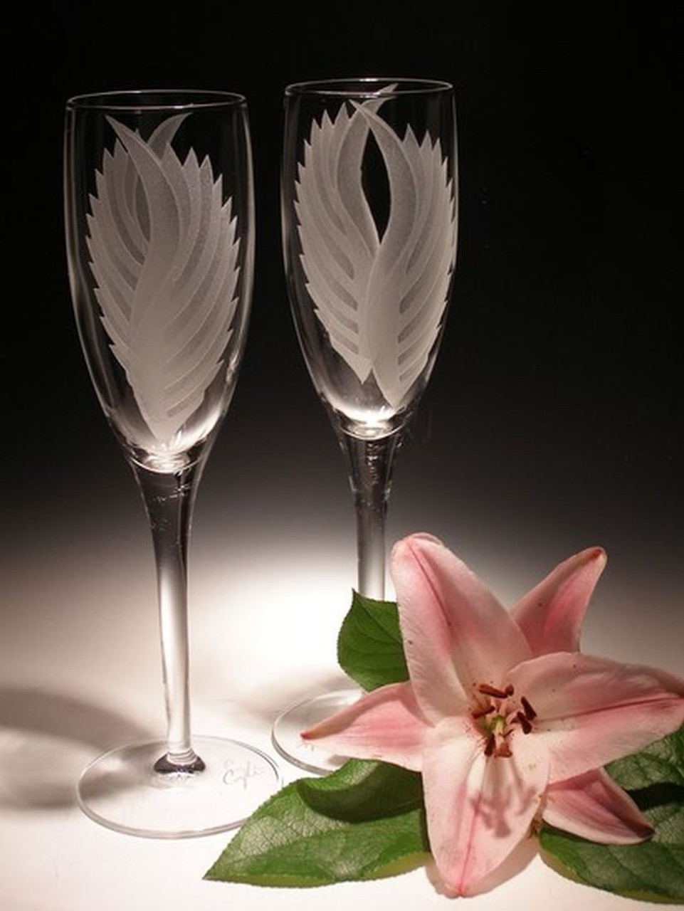 Hand Carved Crystal Champagne Flutes - 7 oz - Set of 2 - Personalized