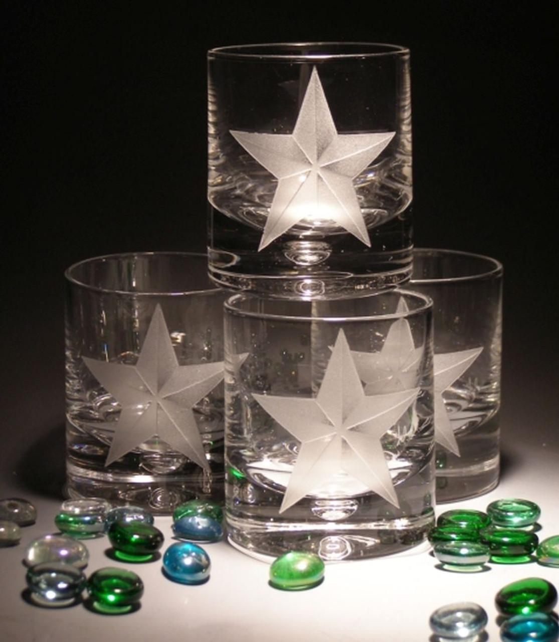 Hand Carved Crystal Single Malt Rocks Glasses - 8oz - Set of 2 - Personalized