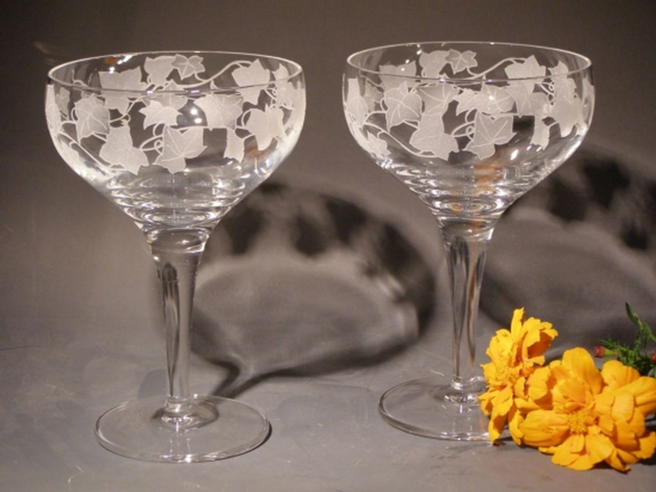 Hand Carved Crystal Coupe Glasses - Set of 2 - Personalized