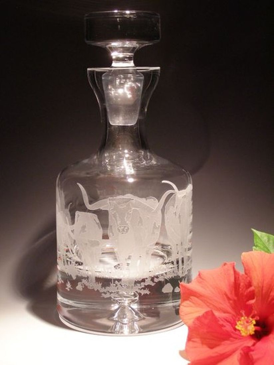 Hand Carved Crystal Decanter - 36oz - Personalized