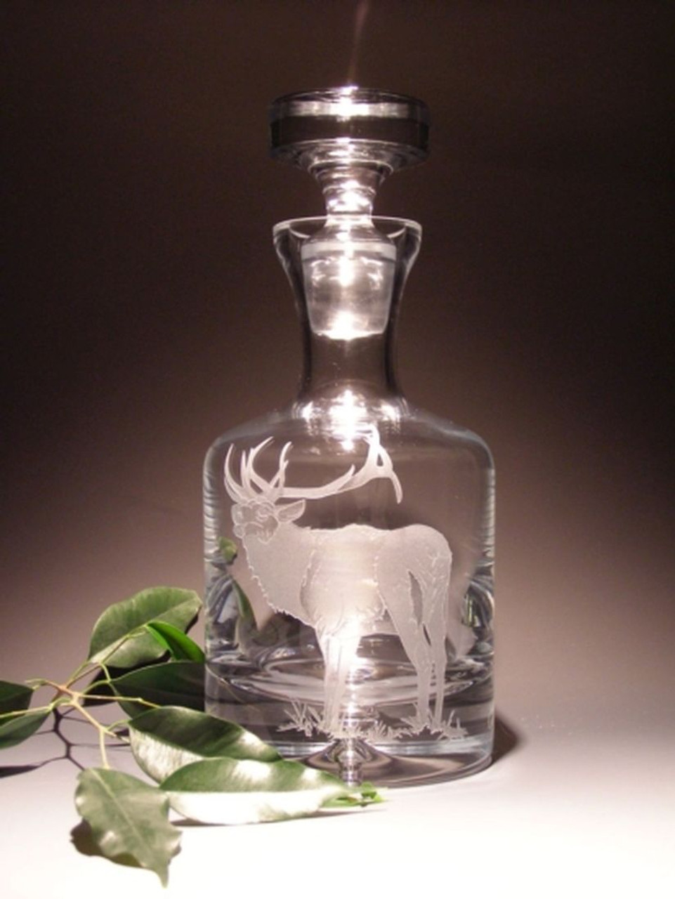 Hand Carved Crystal Whiskey Decanter 36oz Personalized