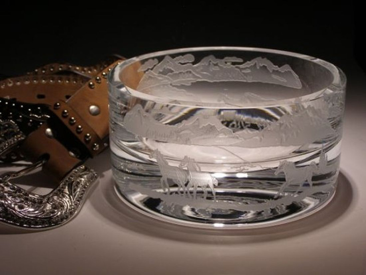 "Hand Carved Crystal Small Bowl - 3"" x 5"" - Personalized"
