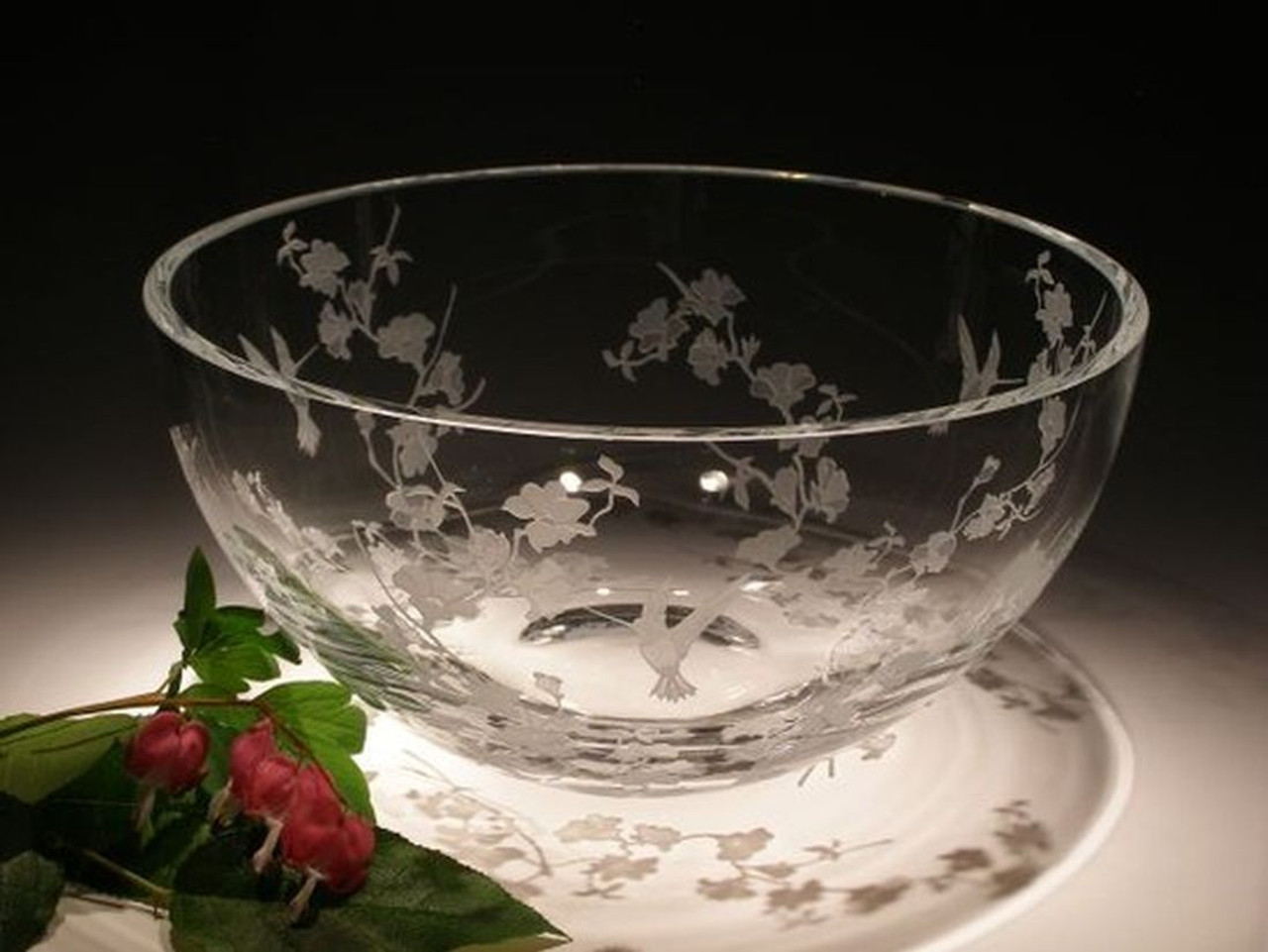 """Hand Carved Crystal Large Round Bowl - 6"""" x 10"""" - Personalized"""