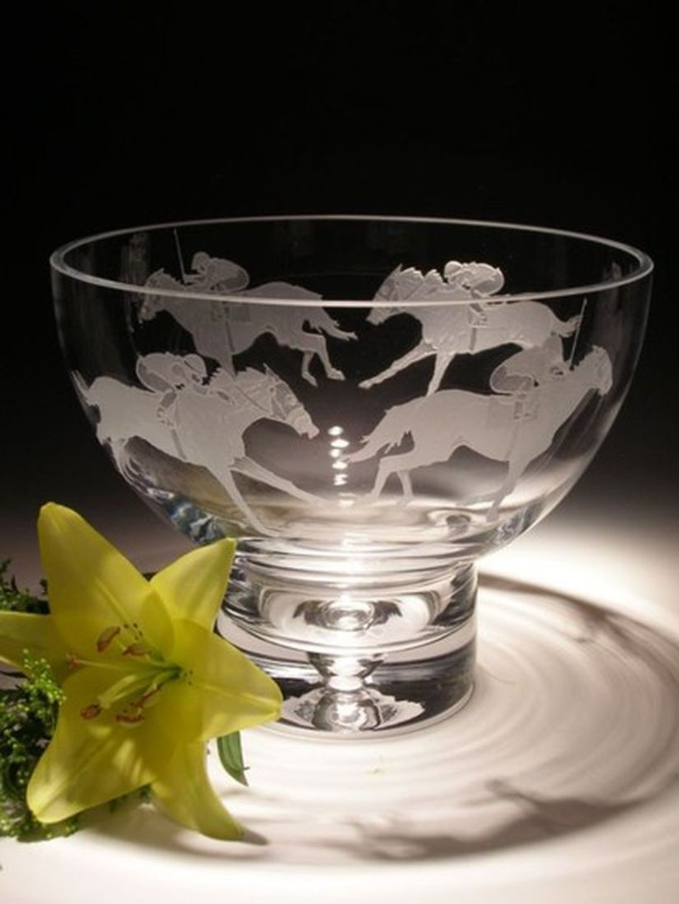 "Hand Carved Crystal Pedestal Bowl - 6.5"" x 8.5"" - Personalized"
