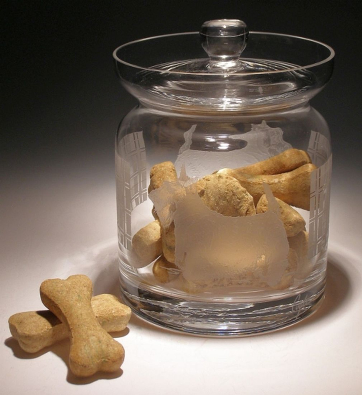 Hand Carved Crystal Biscuit Jar with Lid - Personalized