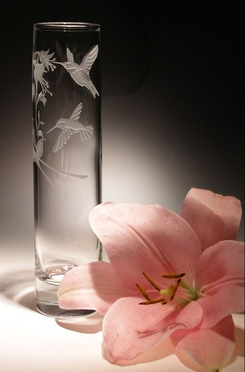 "Hand Carved Crystal Bud Vase - 7"" x 2"" - Personalized"