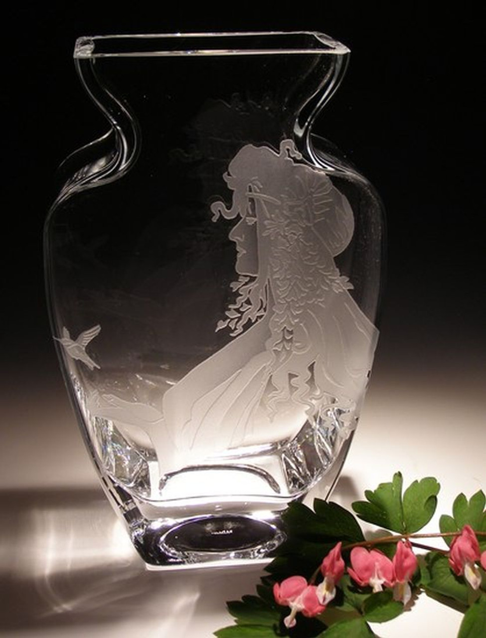 "Hand Carved Crystal Tulip Vase - 9.5"" x 6"" - Personalized"