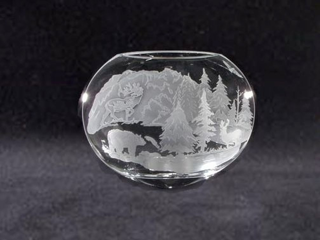"""Hand Carved Crystal Neo Oval Vase - 9"""" x 10"""" - Personalized"""