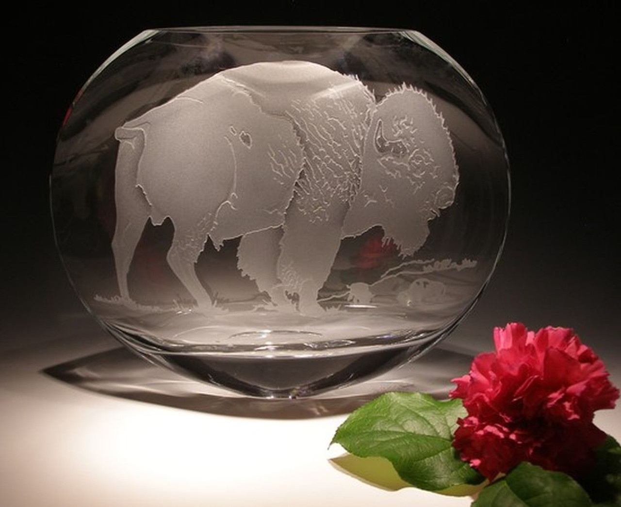 "Hand Carved  Crystal Oval Vase - 10"" x 9"" - Personalized"