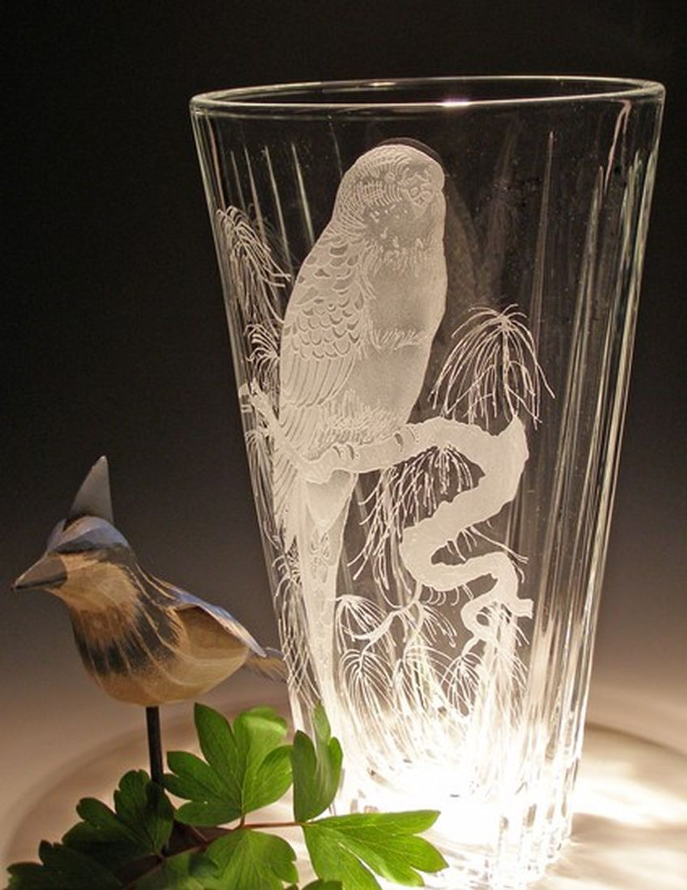"""Hand Carved Crystal Cut Vase - 11"""" - Personalized"""