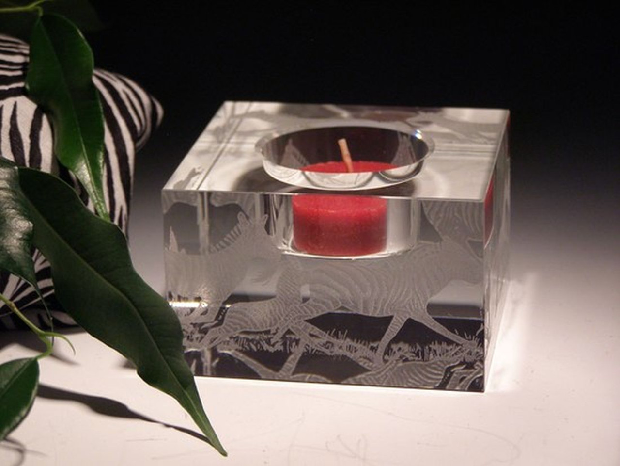 "Hand Carved Crystal Block Votive - 3"" x 3"" x 2"" - Personalized"