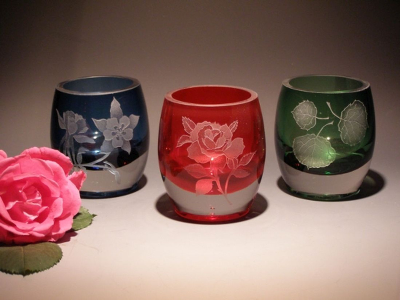 """Hand Carved Crystal Colored Votive Set - 3.25"""" - Red, Blue, Green - Personalized"""
