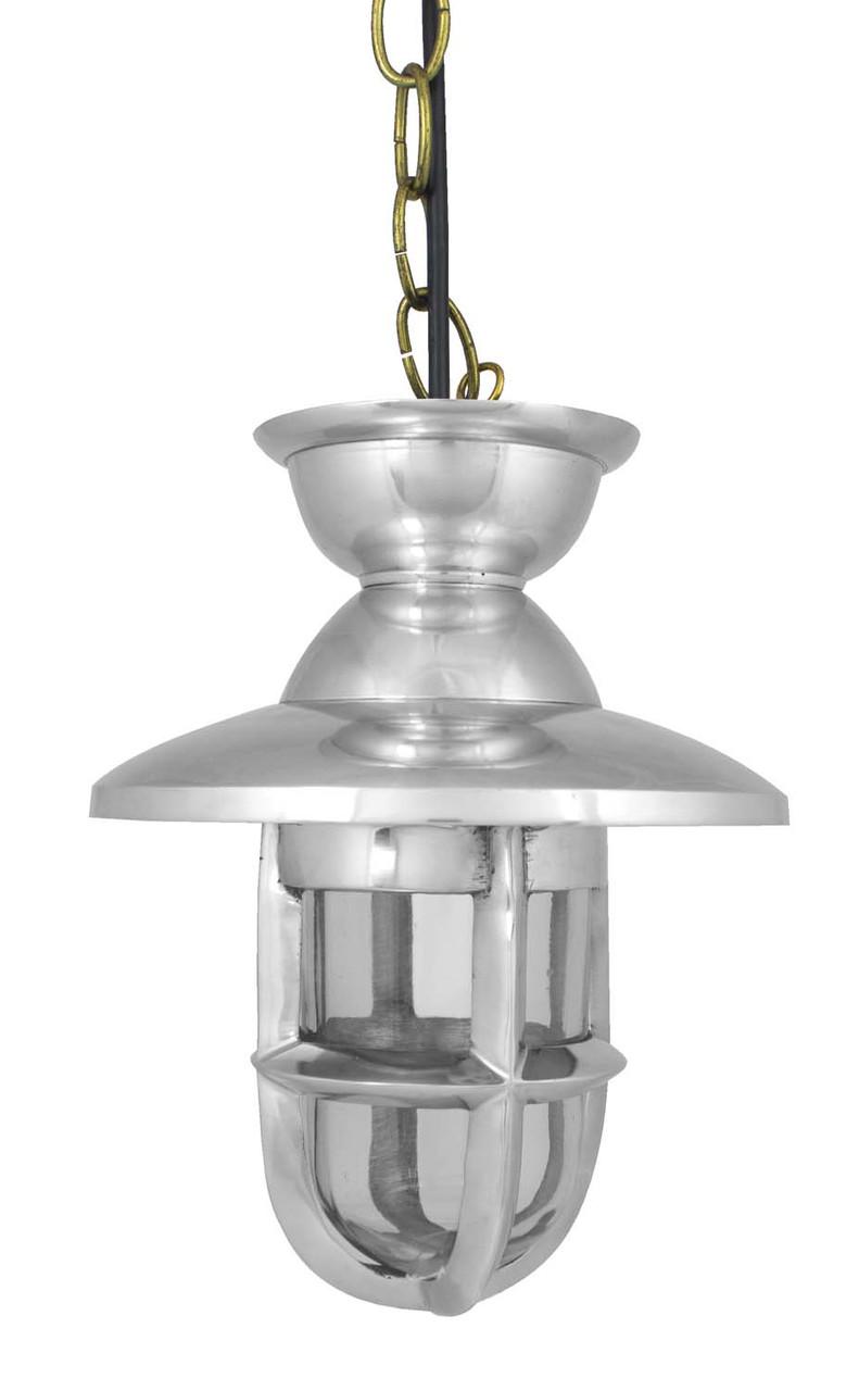 (ML-062)  Polished Aluminum Plug-and-Go Oceanic Lamp with Hood