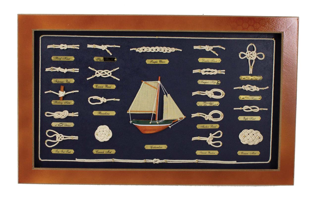 "(MW-618) Medium 20"" Framed Knot Board with Sailboat"