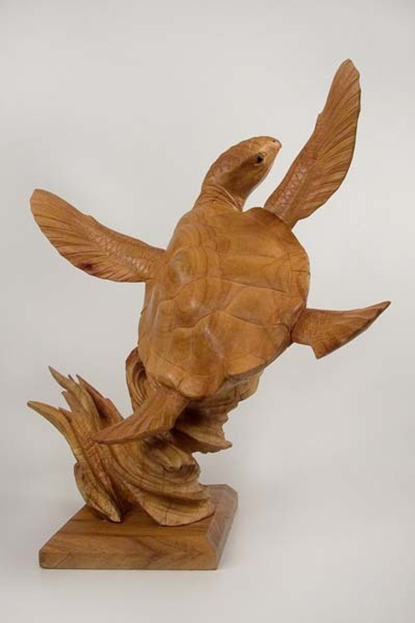 """(B110) 24"""" Hand-Carved Wooden Turtle Sculpture with Base"""