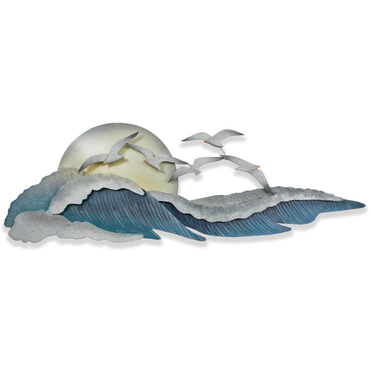 """(CW330) 46"""" """"Seagull Waves"""" Metal Wall Sculpture"""
