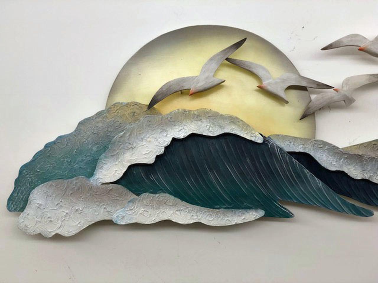 "(CW330) 46"" ""Seagull Waves"" Metal Wall Sculpture - Closeup 1"