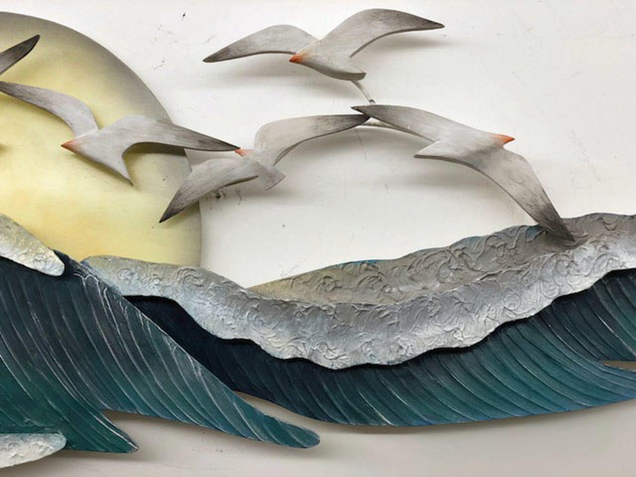 "(CW330) 46"" ""Seagull Waves"" Metal Wall Sculpture - Closeup 2"